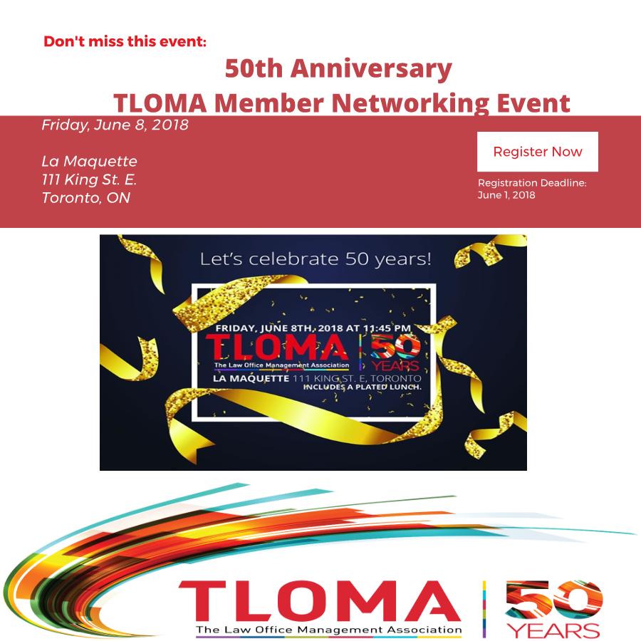 Interruption Ad - TLOMA -50th Anniversary - TLOMA Member Networking Event