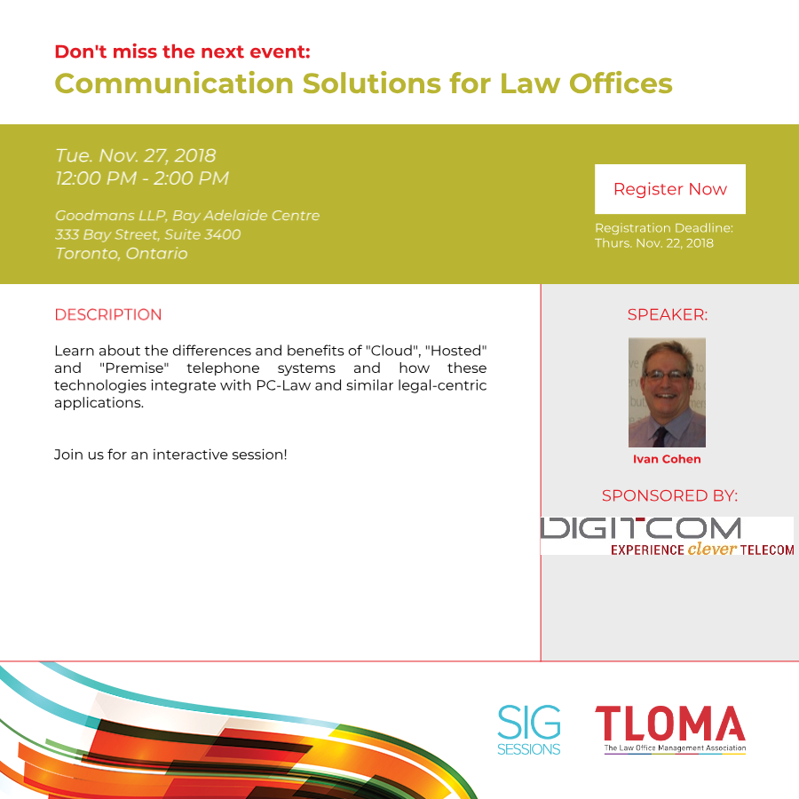 Digitcom Telecommuniations Canada Inc. - Communication Solutions for Law Offices - November 27, 2018.
