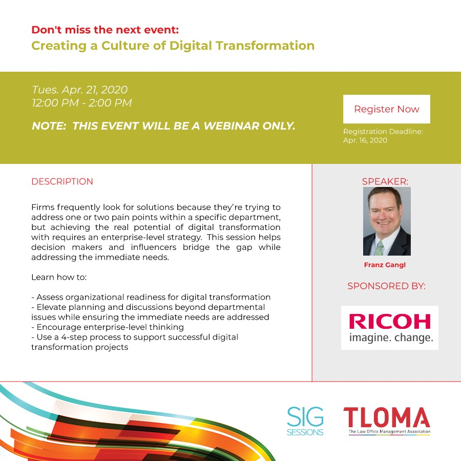 Interruption Ad - Technology SIG - Creating a Culture of Digital Transformation - April 21, 2020