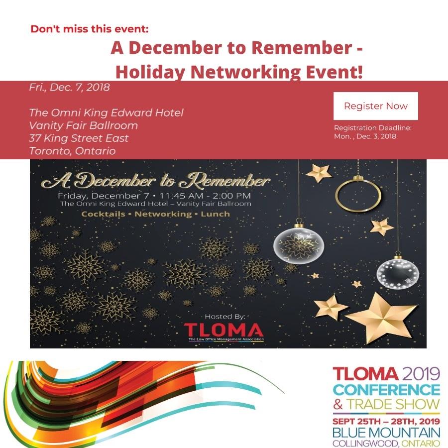 TLOMA - December Networking Event - December 7, 2018