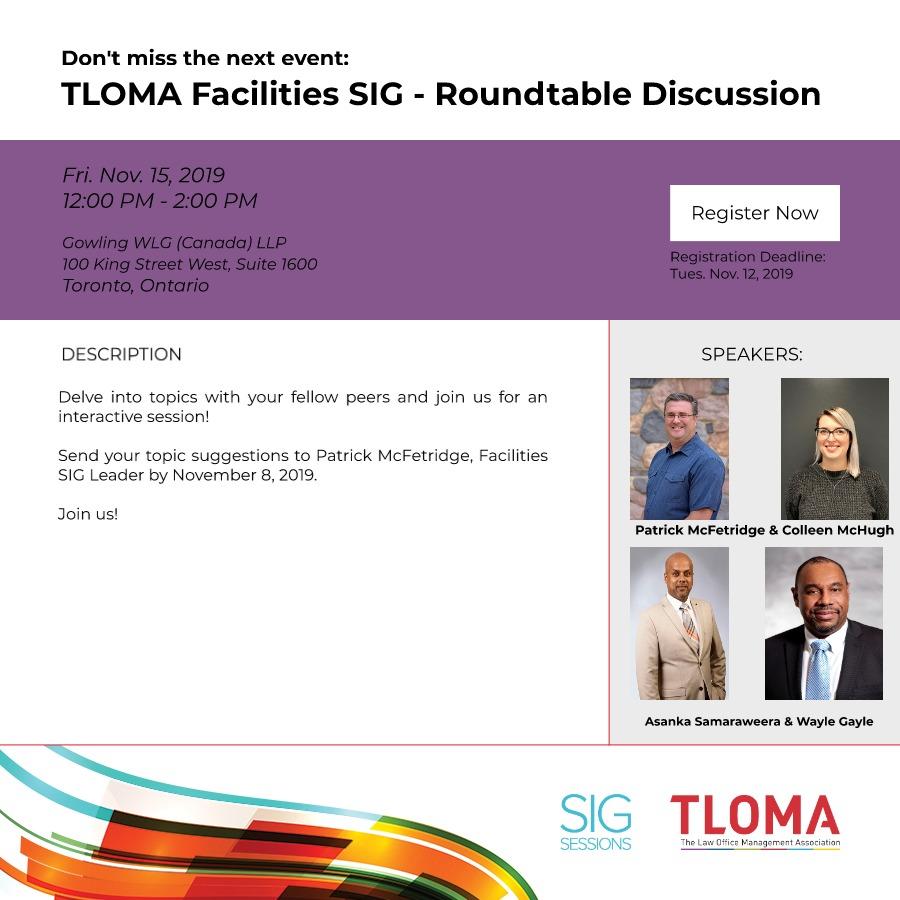 Interruption Ad - Facilities Roundtable Event - Nov. 15, 2019