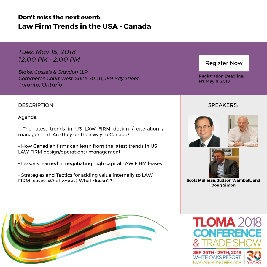 Interruption Ad - TLOMA - Law Firm Trends in the USA - Canada - May 15, 2018