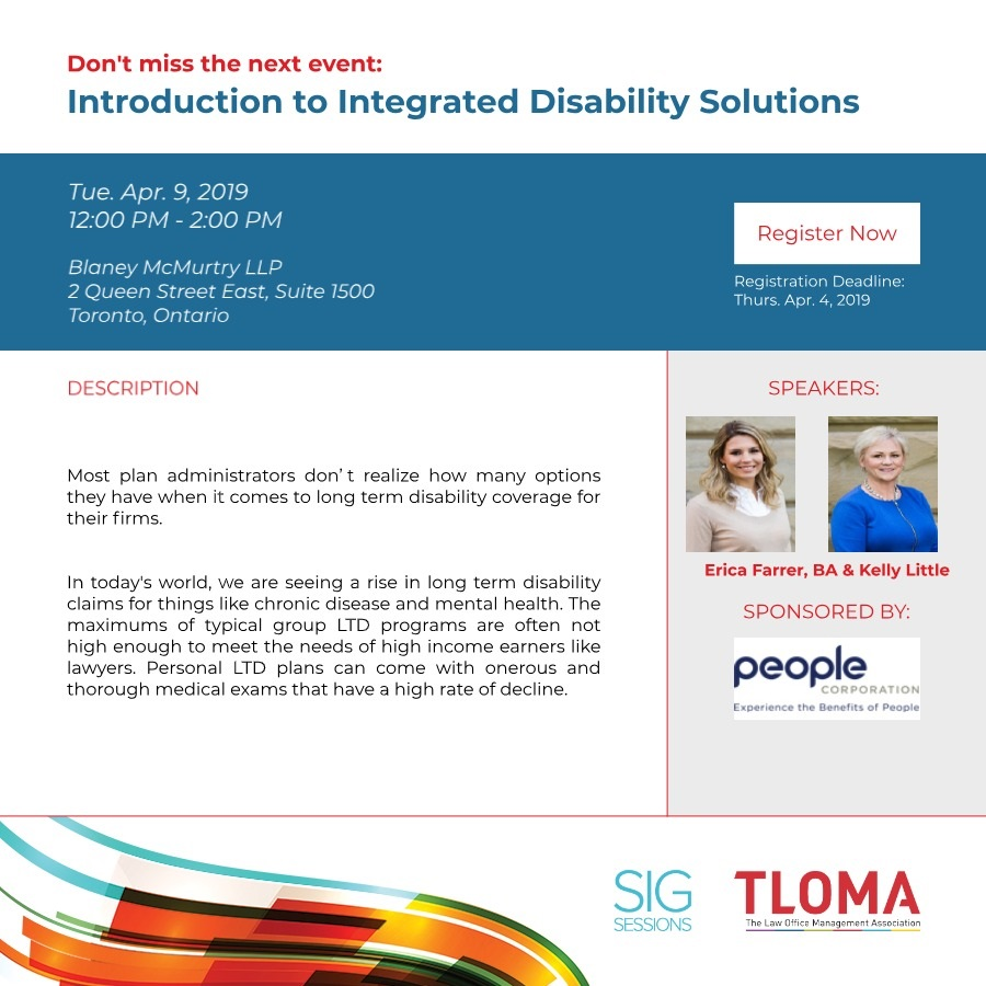 TLOMA Finance SIG - Introduction to Integrated Disability