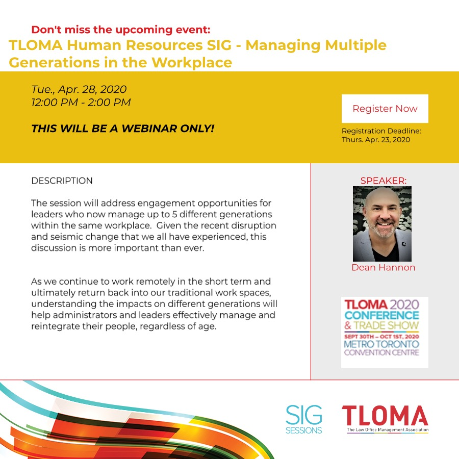 Interruption Ad - TLOMA Human Resources SIG - Managing Multiple Generations in the Workplace - April 28, 2020