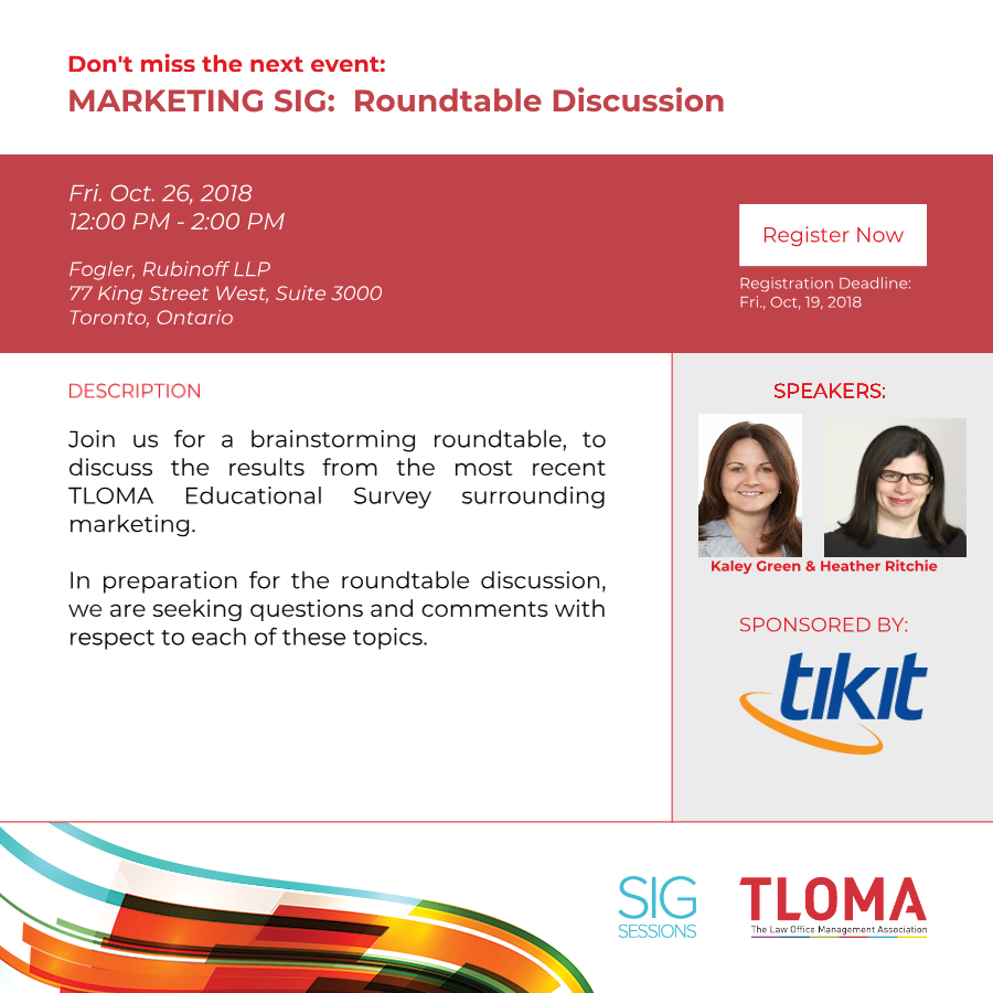 Interruption Ad - Marketing SIG - Roundtable Discussion - October 26, 2018