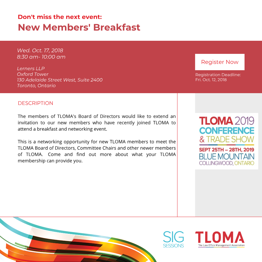 Interruption Ad - New Members Breakfast - TLOMA - Oct. 17, 2018