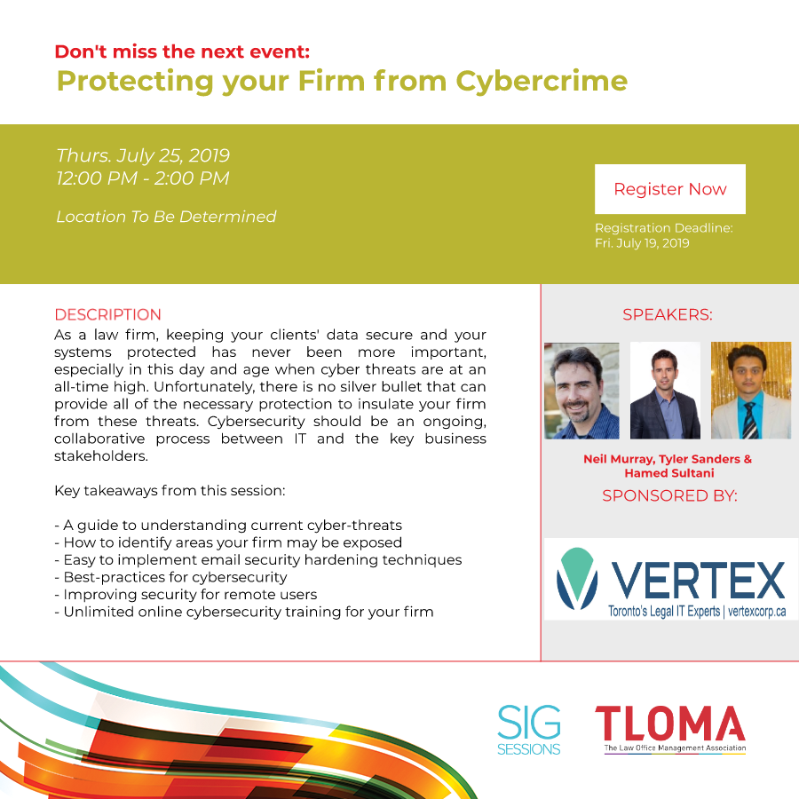 Red Carpet - Vertex Solutions - Protecting your firm from Cybercrime - July 25, 2019