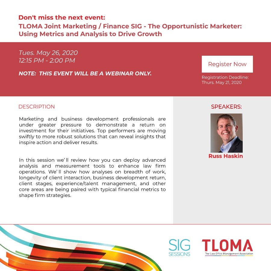 Interruption Ad - TLOMA Joint Marketing / Finance SIG - The Opportunistic Marketer: Using Metrics and Analysis to Drive Growth - Wilson Allen - May 26, 2020