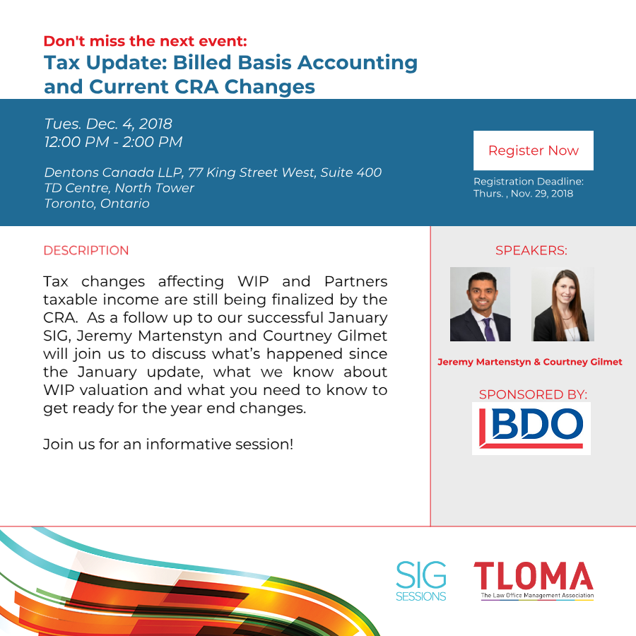 "BDO Canada LLP - Red Carpet Event - ""Update to WIP"" - December 4, 2018"